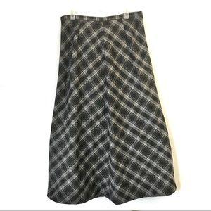 Eddie Bauer maxi skirt gray plaid wool blend